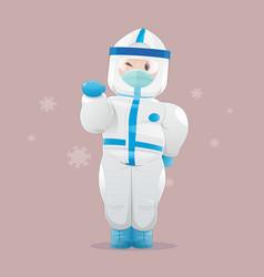 people wearing biohazard protective suit vector image