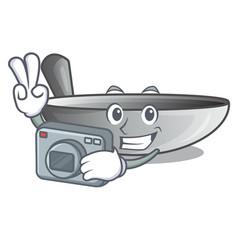 photographer cartoon wok on the kitchen utensil vector image