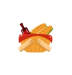 Picnic Basket With Wine vector image