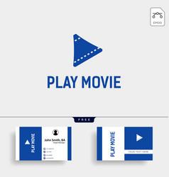 Play button cinema movie simple logo template vector