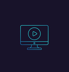 Play video linear icon vector