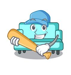 Playing baseball sofa character cartoon style vector