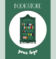 poster bookstore a large high cupboard of gray vector image