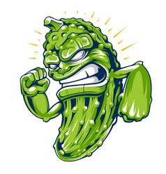 powerful cucumber mascot art vector image