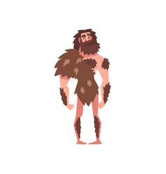 Prehistoric bearded man primitive stone age vector
