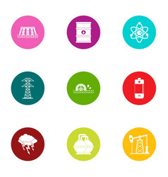 Process fuel icons set flat style vector