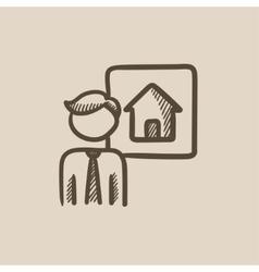 Real estate agent sketch icon vector