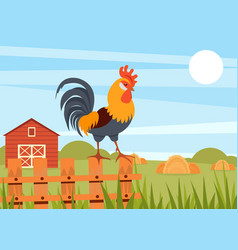 rooster standing on wooden fence on the background vector image