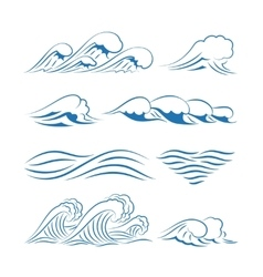 Sea waves icons vector