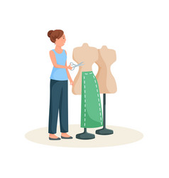 Seamstress standing near mannequin in green skirt vector