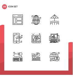 Set 9 outlines on grid for stat mobile vector