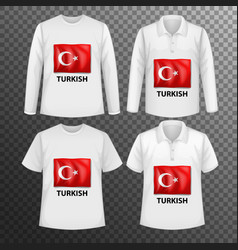 Set different male shirts with turkish flag vector