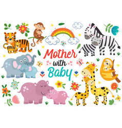 set isolated animals mother with bapart 1 vector image