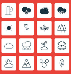 Set of 16 harmony icons includes sprout cactus vector