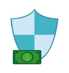 Shield and money bill icon vector