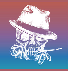 Skull with rose on colorful backdrop vector