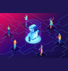 Social robotics concept isometric vector
