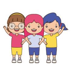 Three girl embraced vector