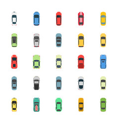 Top view colorful cars flat icons vector