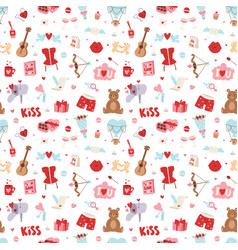 Valentine day icons seamless pattern vector