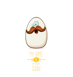 white egg cartoon characters isolated on white vector image
