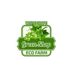 White grape fruit green eco farm shop icon vector