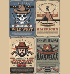 Wild west cowboy sheriff and skull with guns vector