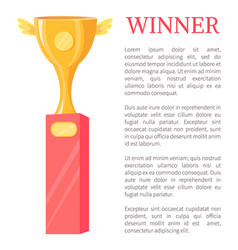 Winner golden trophy cup vector