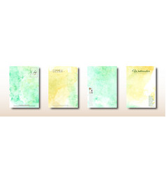 yellow and green watercolor hand painted vector image