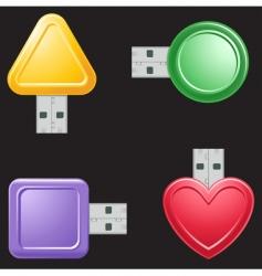 USB flash drive shapes vector image