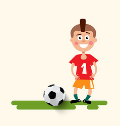 boy with football ball flat design soccer sport vector image