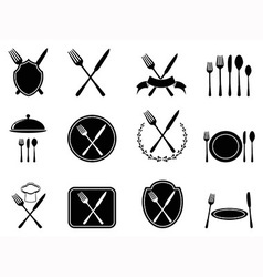 eating utensils icons set vector image