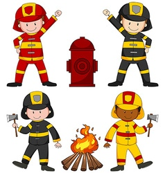Firefighters and many equipments vector image vector image