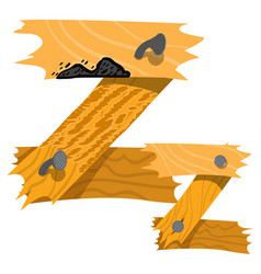 letter z from wooden planks alphabet vector image vector image