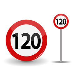 round red road sign speed limit 120 kilometers per vector image