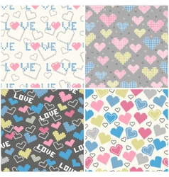 set of seamless patterns with pixel hearts vector image