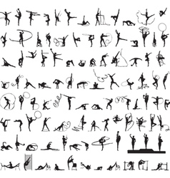Set of silhouettes rhythmic gymnastics vector