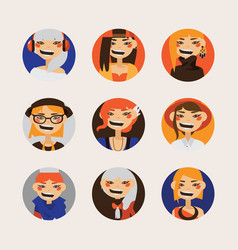 set with female hipster avatars smiling and vector image vector image
