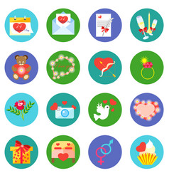 valentine day icons in a flat style on a round vector image vector image