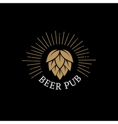 Beer Pub hand drawn lettering logo label badge for vector image vector image