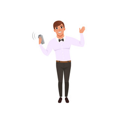 smiling bartender shaking alcohol cocktail in vector image