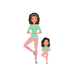 young curly-haired mother with daughter doing yoga vector image