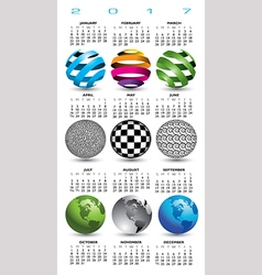 A 2017 calendar with nine abstract globes vector image vector image
