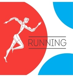 Running man with color shape vector image