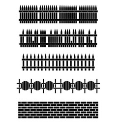 silhouette wooden fence set vector image