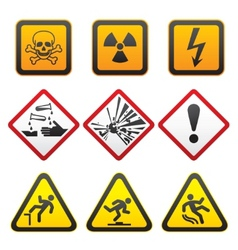 warning symbols hazard signsfirst set vector image vector image