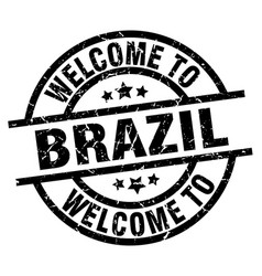 welcome to brazil black stamp vector image