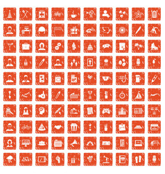100 team building icons set grunge orange vector