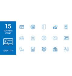 15 identity icons vector image