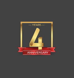 4 years anniversary logo style with golden square vector